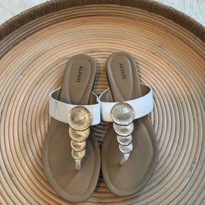 Alfani Tan & White beautiful flip flops size 8.5